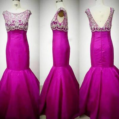 Sexy Mermaid Crystal Rose Long Evening Dress Latest Open Back Zipper Custom Made Bridesmaid Dresses_5