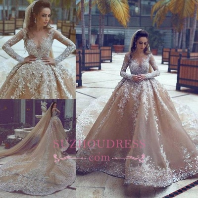 Appliques Ball-Gown Long-Sleeve Beadings Luxurious Wedding Dress_1