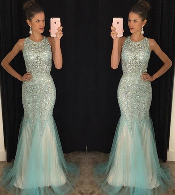 Sparkly Halter Mermaid Evening Dress Luxurious Sexy Long Prom Dresses_3