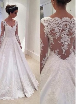 Chic Long-Sleeves Lace Appliques Wedding Dresses | Bridal Gowns Online_1
