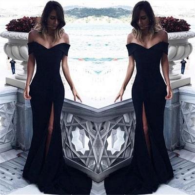 Off The Shoulder Black Evening Dresses  Elegant  Prom Dress with Slit BA6545_3