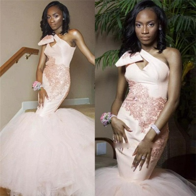 One Shoulder Mermaid Tulle  Prom Dress  | Pink Lace Sleeveless Sexy Long Prom Gown_3