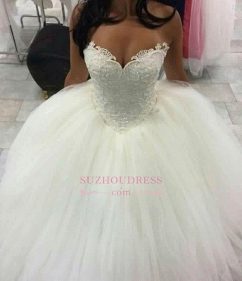 Sweetheart Ball Gown Wedding Dress Sleeveless Amazing Beaded Lace Wedding Dresses BA4355_1