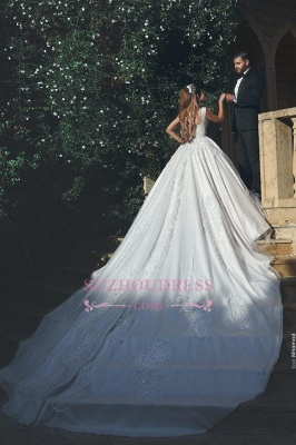 Elegant Ball Tulle Sleeveless New Square Appliques Wedding Dresses  BA4133_3