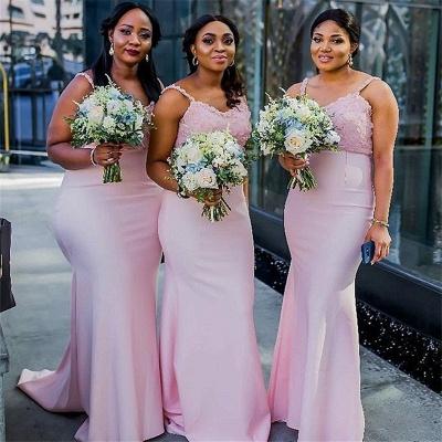 Sheath Spaghetti Straps Pink Bridesmaid Dresses |  Long Sexy Maid of Honor Dresses_3