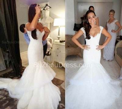 Elegant Lace V Neck Wedding Dresses with Fishtail Open Back Tulle Court Train Bridal Gowns_4