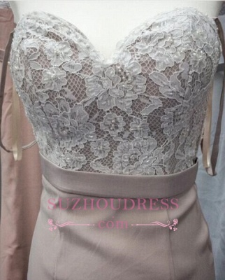 Lace Pink Beading Sweetheart-Neck Pearls Mermaid Prom Dresses_3