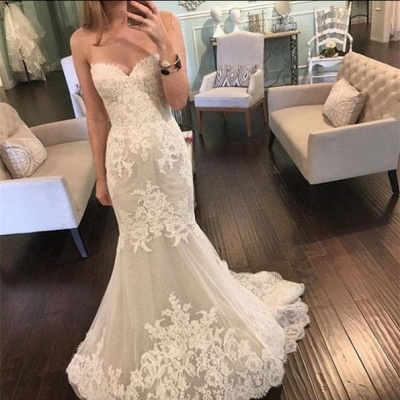 Lace Mermaid Sweetheart  Bridal Gowns New Tulle Long Wedding Dresses BA3980_3