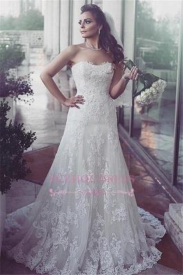 Tulle Elegent Sweetheart Sweep-Train Sleeveless Lace Wedding Dresses_1