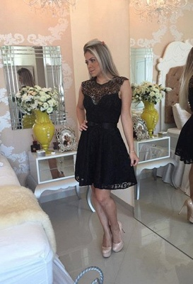 New Arrival Black Lace Homecoming Dress Sleeveless A-line Short Bowknot Cocktail Dress_1