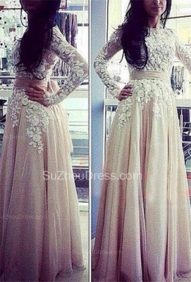 Fall  Prom Dresses Jewel Long Sleeve Appliques A Line Floor Length Sequins Flower Evening Gowns_1
