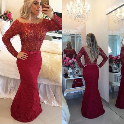 Long Sleeve Bateau Sexy Mermaid Evening Dress with Beadings Bowknot Lace Trumpet Formal Occasion Dresses_4
