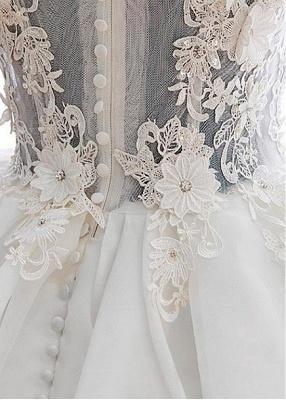Cute Off Shoulder White Organza Mini Wedding Dress Lace Applique Custom Made Formal Short Bridal Gown BA4970_4