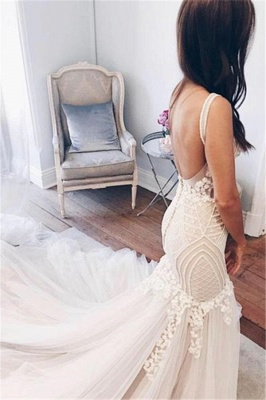 Mermaid V-Neck Wedding Dresses | Sleeveless Open Back Bridal Gowns with Buttons_3