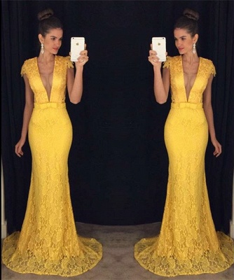 Mermaid Lace Plunging Neck Prom Dress Sexy  Long Evening Gown_3