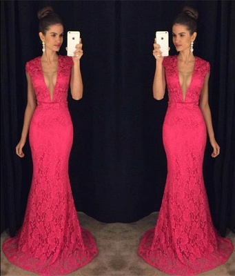 Mermaid Lace Plunging Neck Prom Dress Sexy  Long Evening Gown_4