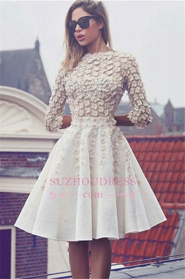 Glamorous Lace Short Homecoming Dress  3D-Flowers A-Line 3/4 Sleeves Hoco Dresses BA6905_2