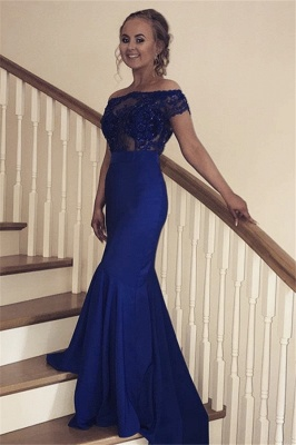 Sexy Off the Shoulder Mermaid Prom Dress | Navy Blue Appliques Evening Gowns_1