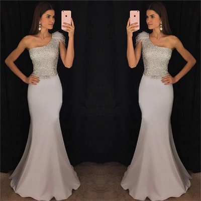 New Arrival One Shoulder Mermaid Evening Dresses  Sequins Prom Dresses with Fur_3