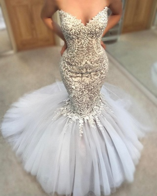 Gorgeous Strapless Tulle Lace Mermaid Wedding Dresses Sweetheart Appliques Sleeveless Bridal Gowns On Sale_3