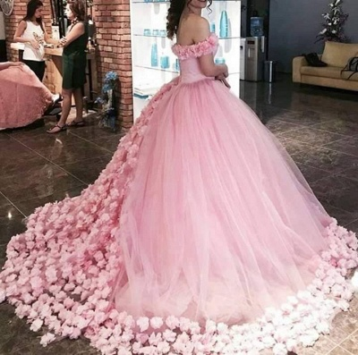 Sweet 16 Quinceanera Dresses Off The Shoulder Corset Canfy Pink Wedding Dress with Flowers BA3070_5