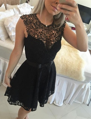 New Arrival Black Lace Homecoming Dress Sleeveless A-line Short Bowknot Cocktail Dress_3