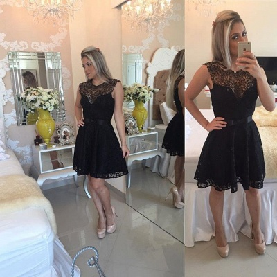 New Arrival Black Lace Homecoming Dress Sleeveless A-line Short Bowknot Cocktail Dress_5