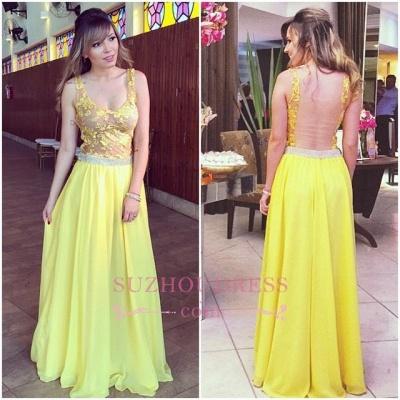 Chiffon Lace Straps Evening Dress Floor length Yellow  Long Prom Dress_3