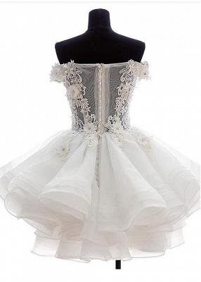 Cute Off Shoulder White Organza Mini Wedding Dress Lace Applique Custom Made Formal Short Bridal Gown BA4970_2