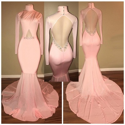 Open Back  Pink Prom Dress Sexy   Mermaid High Neck Evening Gowns with Sleeve_3