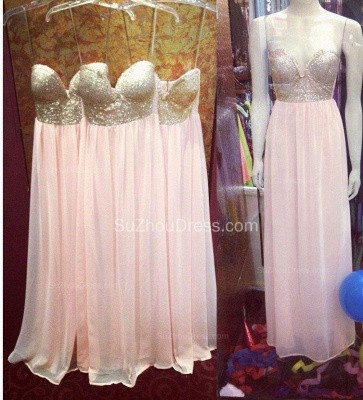Pearl Pink Sweetheart Sequined Prom Gowns  A-Line Floor Length Evening Dresses_2