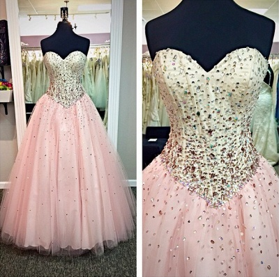 Sweetheart Pink Ball Gown Prom Dresses with Crystals Beadings  Long Cute Evening Dresses in High Quality_2