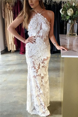 Spaghetti Straps Open Back Sexy Evening Dress Lace Appliques Sheer Formal Dress_1