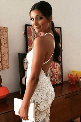 Spaghetti Straps Open Back Sexy Evening Dress Lace Appliques Sheer Formal Dress_3