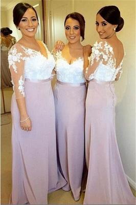 White Lace Appliques   Bridesmaid Dresses Sleeved Light Lavender Evening Dress BD0004_1