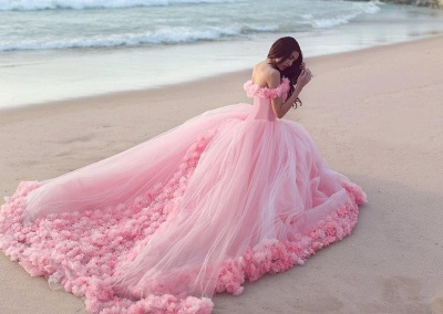Sweet 16 Quinceanera Dresses Off The Shoulder Corset Canfy Pink Wedding Dress with Flowers BA3070_4