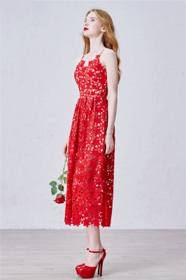 Red Spaghetti Strap Tea Length Lace Prom Dress Latest Sleeveless Zipper Evening Gowns_2