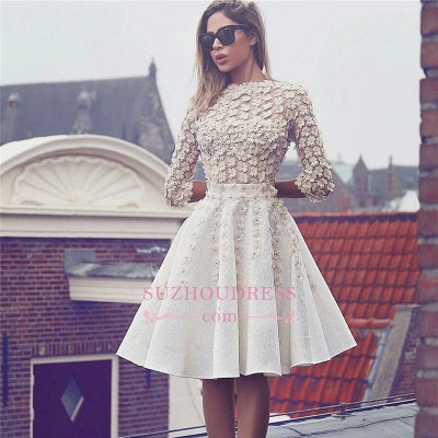Glamorous Lace Short Homecoming Dress  3D-Flowers A-Line 3/4 Sleeves Hoco Dresses BA6905_1