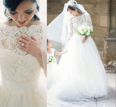 A-line Bateau 3/4 Long Sleeve Tulle Bridal Gown New Arrival Lace Wedding Dress_3