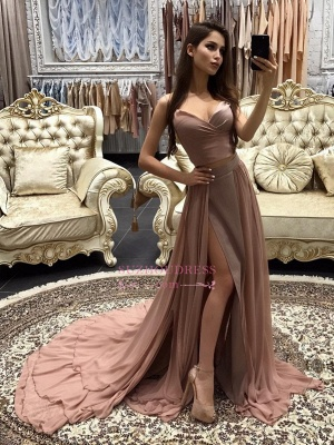 Sexy A-line Prom Dresses  Layers Side-Slit Straps Long Evening Gowns CD0066_3