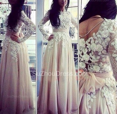 Fall  Prom Dresses Jewel Long Sleeve Appliques A Line Floor Length Sequins Flower Evening Gowns_2
