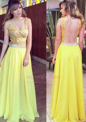 Chiffon Lace Straps Evening Dress Floor length Yellow  Long Prom Dress_1