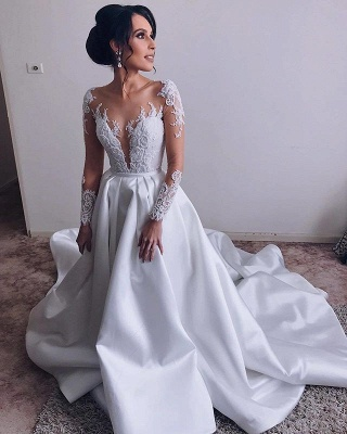 Glamorous Lace Appliques Wedding Dresses Satin Long Sleeve Bridal Gowns Online_3