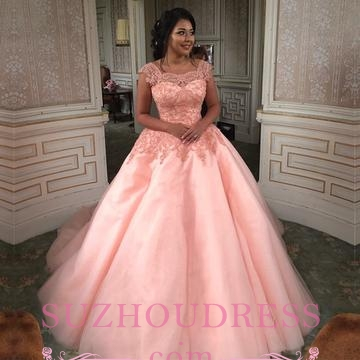 Newest Chic Long Cap-Sleeves Ball-Gown Scoop Lace-Appliques Quinceanera Dresses_4