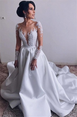 Glamorous Lace Appliques Wedding Dresses Satin Long Sleeve Bridal Gowns Online_1