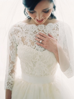 A-line Bateau 3/4 Long Sleeve Tulle Bridal Gown New Arrival Lace Wedding Dress_1