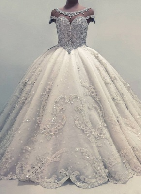 Gorgeous Shiny Crystals Wedding Dresses with Flowers Ball Gown Bridal Gowns Online_1