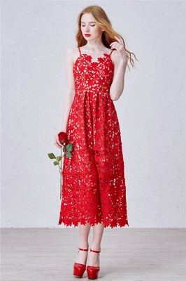 Red Spaghetti Strap Tea Length Lace Prom Dress Latest Sleeveless Zipper Evening Gowns_1