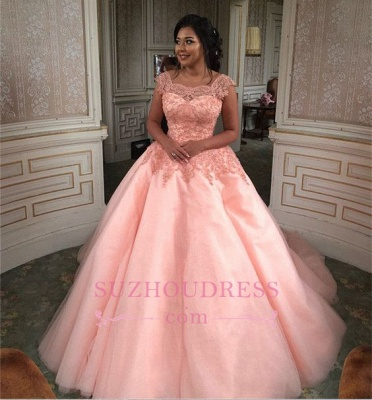 Newest Chic Long Cap-Sleeves Ball-Gown Scoop Lace-Appliques Quinceanera Dresses_7