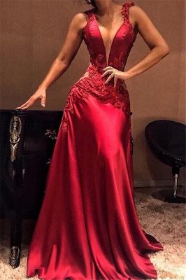 Deep V-Neck Red Sleeveless Evening Dresses | Sexy A-Line Appliques Prom Dresses_3
